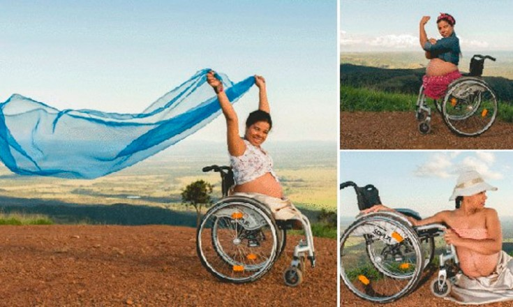 Três fotos de uma mulher grávida em uma cadeira de rodas