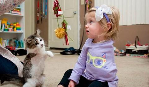 Garotinha com o braço esquerdo amputado brincando no chão com uma gatinha que tem apenas três patas