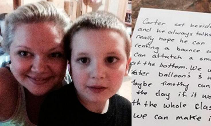 Montagem de duas fotos em que aparecem uma mulher e um garotinho à esquerda e uma carta escrita em inglês à direita