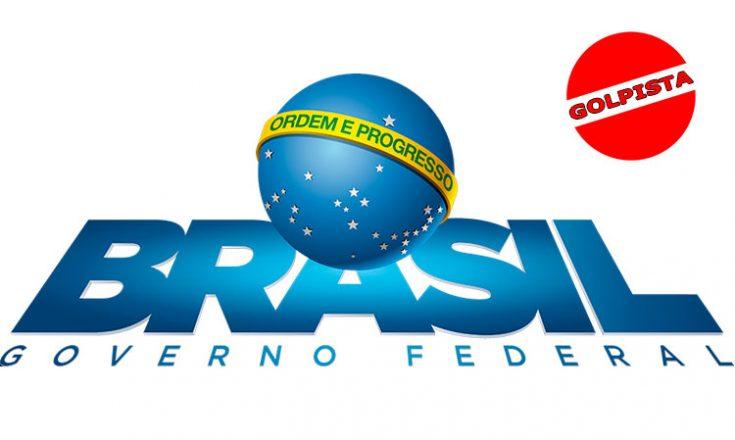 Logo oficial do Governo Federal com um selo vermelho de golpista no alto. Inclusão de Sem Barreiras.