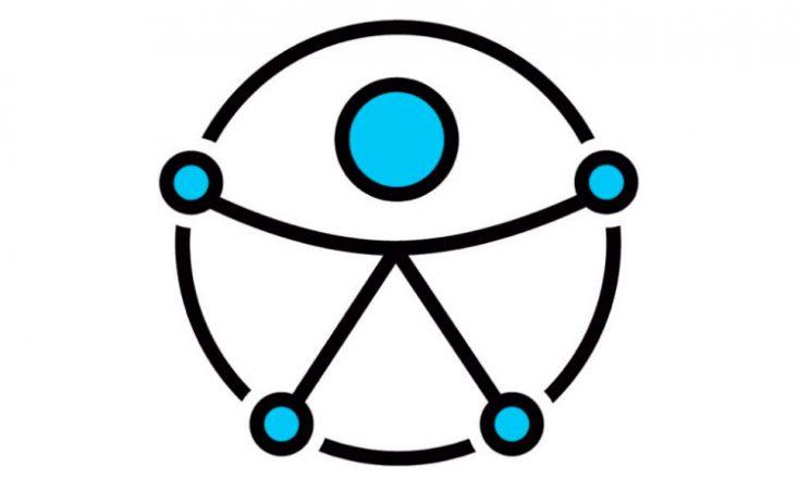 Um círculo preto com uma pessoa ao centro, de braços abertos, e cinco pequenos círculos azuis nas duas mãos, nos dois pés e na cabeça.