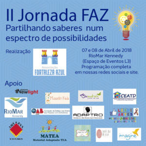 Arte em azul do cartaz da II Jornada FAZ: Partilhando saberes num espectro de possibilidades, com as logomarcas do promotores e apoiadores do evento