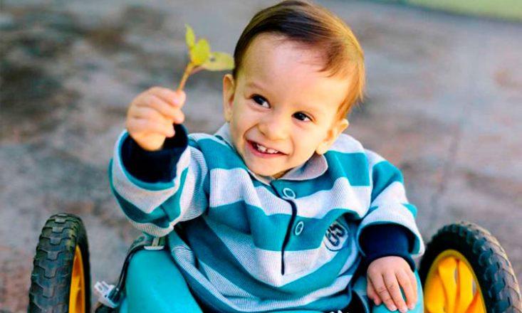 Garotinho sentado em um carrinho de criança, sorri e segura uma flor acima da cabeça.