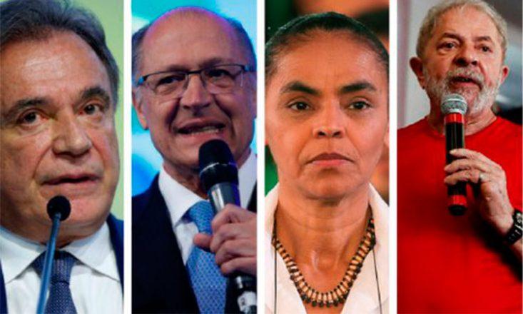 Quatro fotos verticais de candidatos à presidência da República. Da esquerda para a direita: Álvaro Dias, Geraldo Alckimin, Marina Silva e Lula.