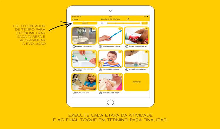 Imagem do aplicativo de celular em um grande fundo amarelo