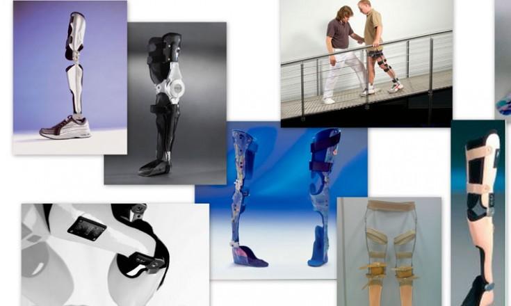 Sete fotografias de órteses e próteses de pernas e joelhos