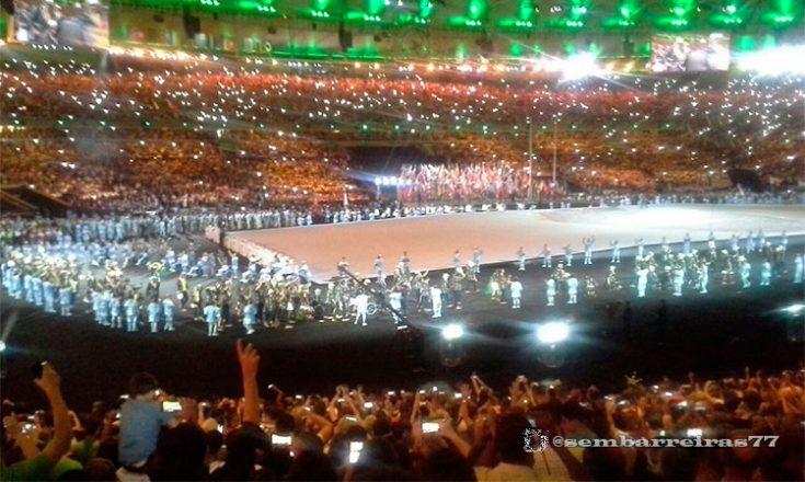 Visão do Maracanã durante a festa de abertura dos Jogos Paralímpicos do Rio de Janeiro