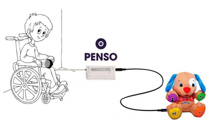 Desenho de fundo branco, mostrando um menino, à esquerda, sentado em sua cadeira de rodas, com uma bolinha no colo. à direita, um cachorrinho de pelúcia, sentado, com um fio ligado nele e em um aparelho elétrico ao centro da foto. Acima do aparelho, a palavra Penso